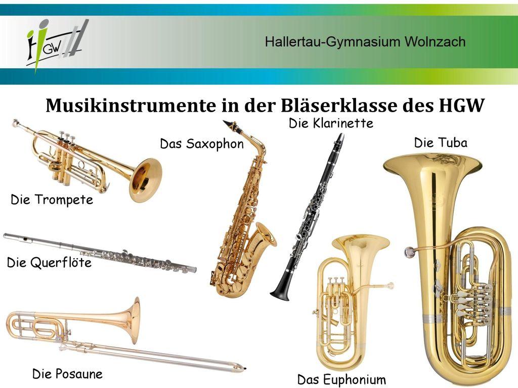 Musikinstrumente in der Bläserklasse des HGW