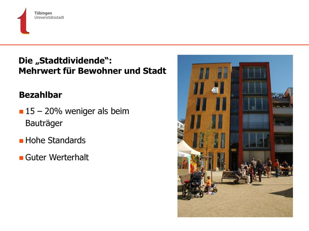 """Die """"Stadtdividende : Mehrwert für Bewohner und Stadt"""