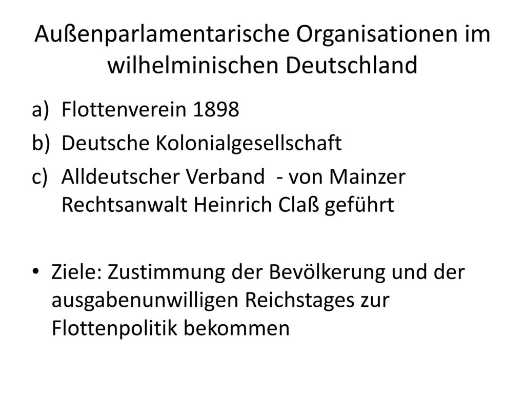 Außenparlamentarische Organisationen im wilhelminischen Deutschland