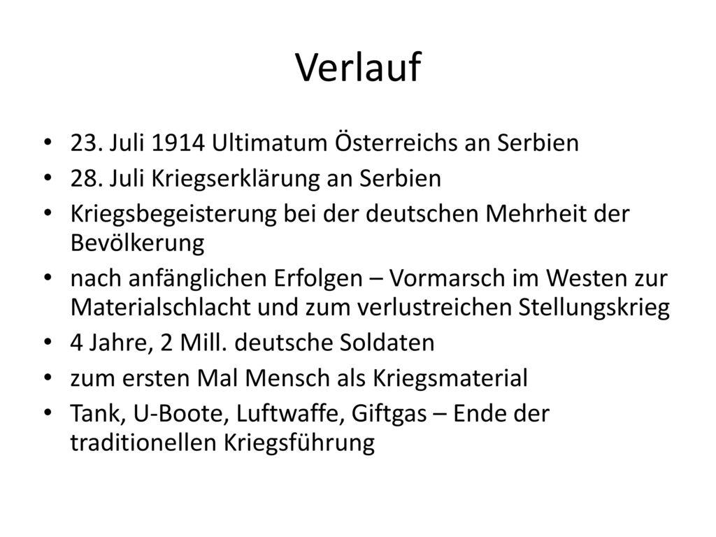 Verlauf 23. Juli 1914 Ultimatum Österreichs an Serbien