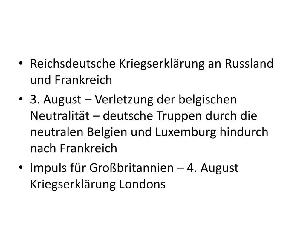 Reichsdeutsche Kriegserklärung an Russland und Frankreich