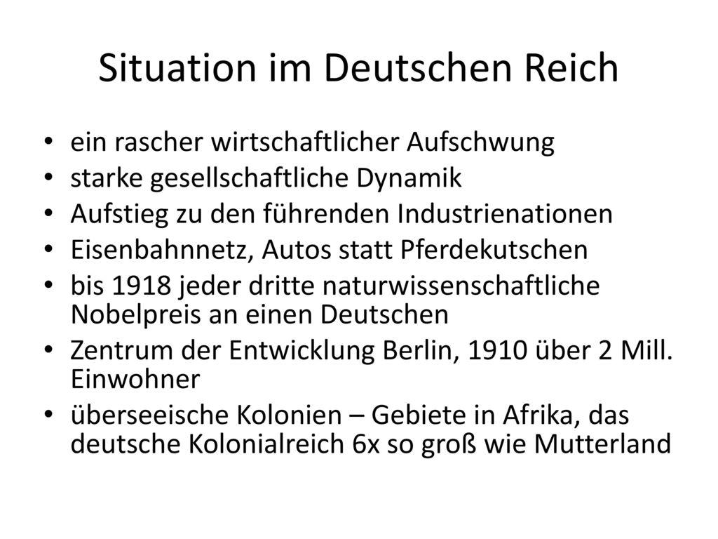 Situation im Deutschen Reich