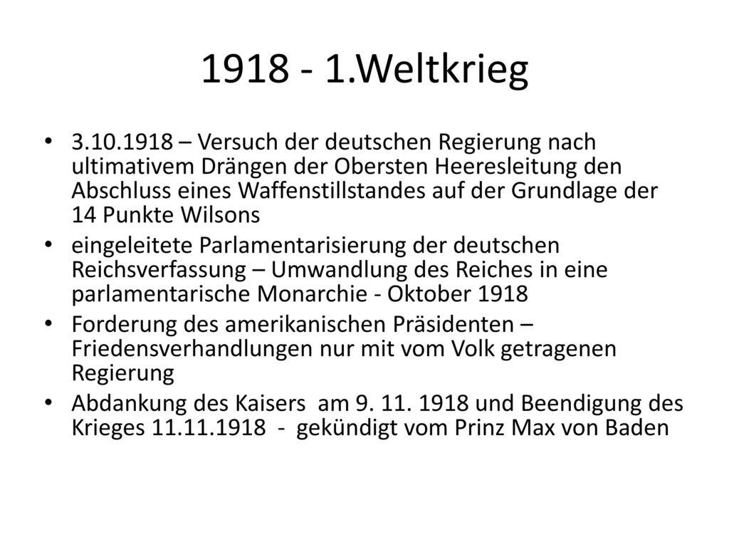 1918 - 1.Weltkrieg