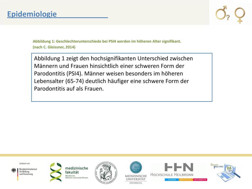Epidemiologie Abbildung 1: Geschlechterunterschiede bei PSI4 werden im höheren Alter signifikant. (nach C. Gleissner, 2014)