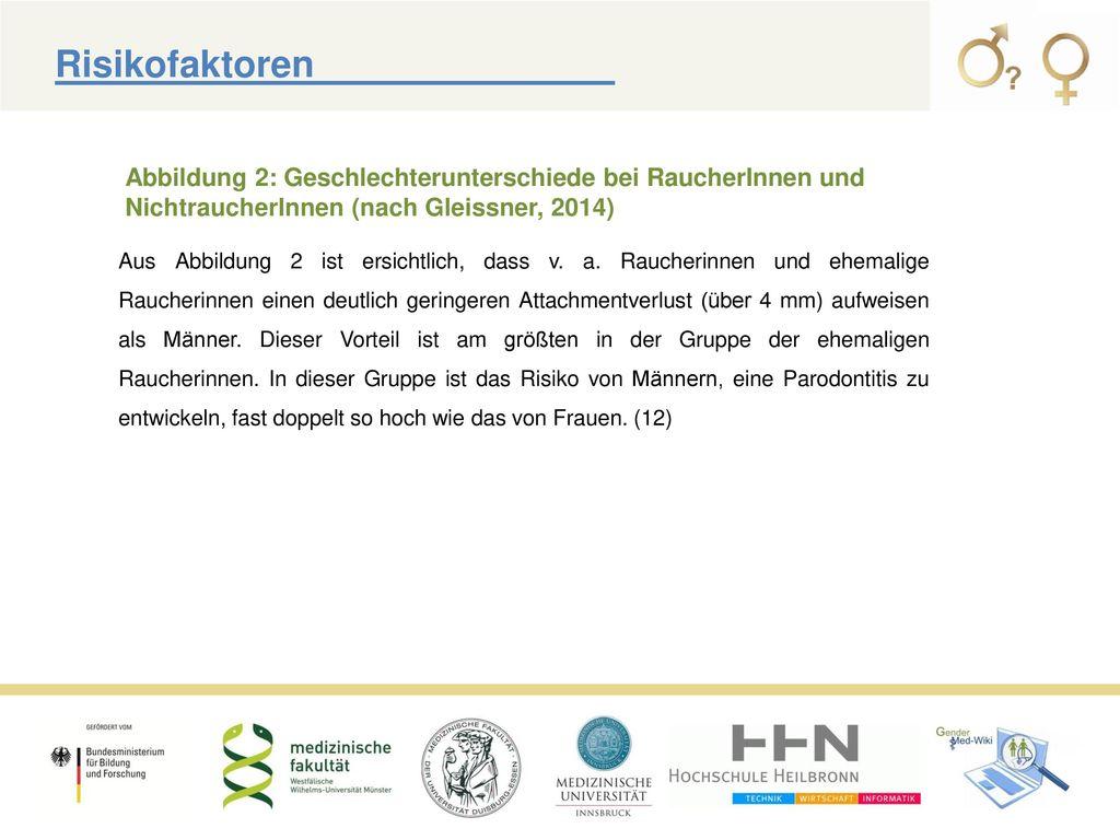 Risikofaktoren Abbildung 2: Geschlechterunterschiede bei RaucherInnen und NichtraucherInnen (nach Gleissner, 2014)