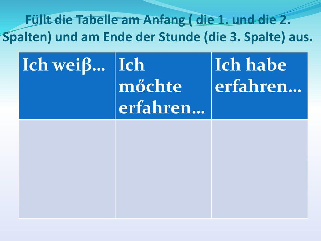 Füllt die Tabelle am Anfang ( die 1. und die 2