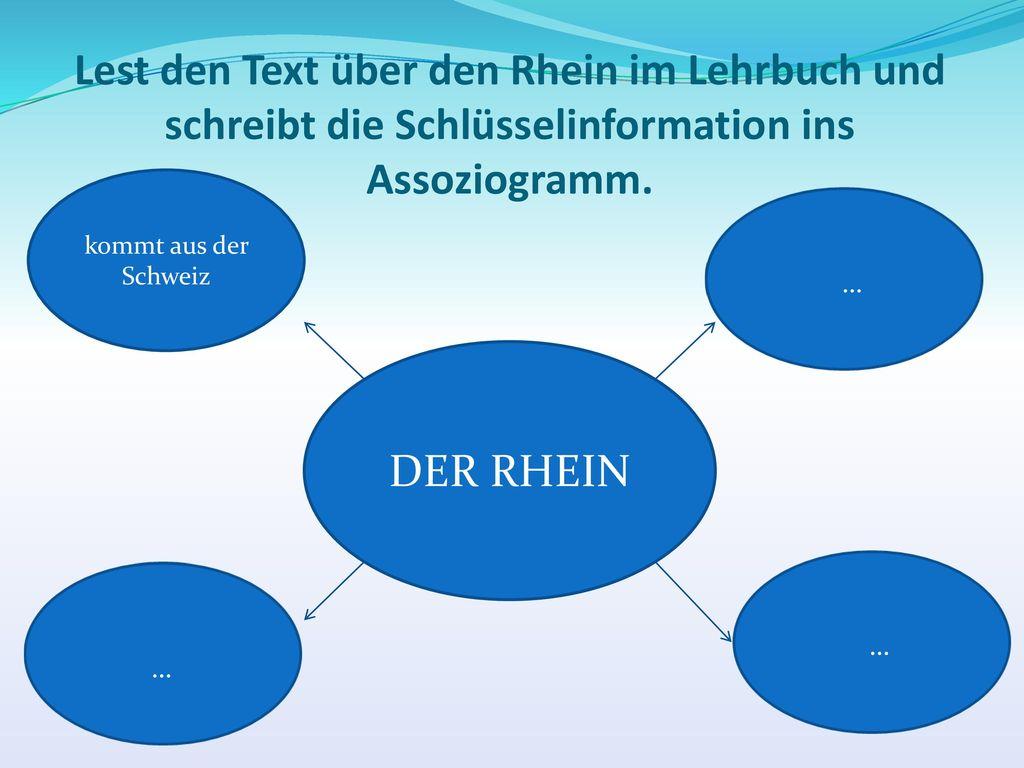 Lest den Text über den Rhein im Lehrbuch und schreibt die Schlüsselinformation ins Assoziogramm.