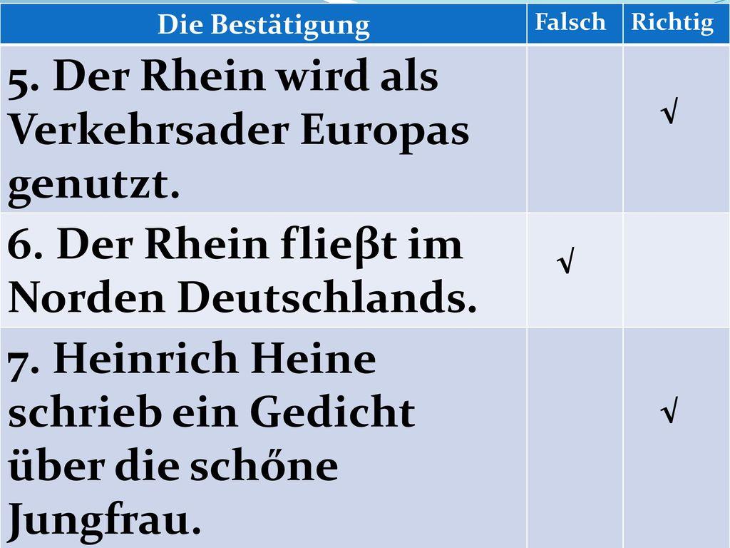 5. Der Rhein wird als Verkehrsader Europas genutzt.