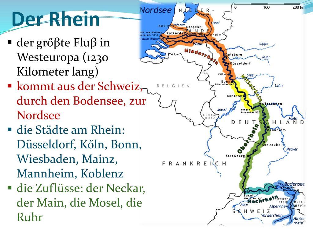Der Rhein der grőβte Fluβ in Westeuropa (1230 Kilometer lang)
