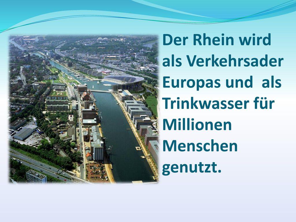 Der Rhein wird als Verkehrsader Europas und als Trinkwasser für Millionen Menschen genutzt.