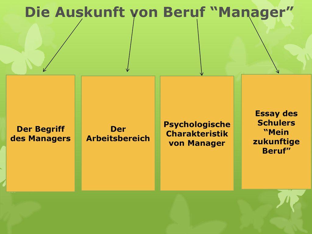 Die Auskunft von Beruf Manager