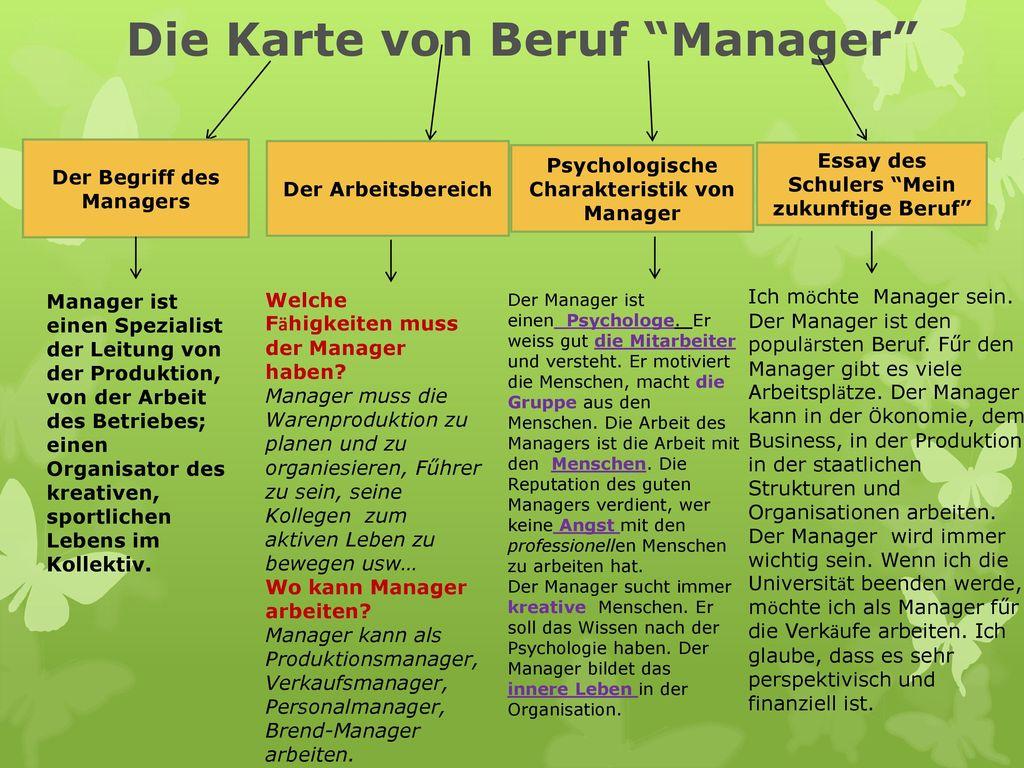 Die Karte von Beruf Manager