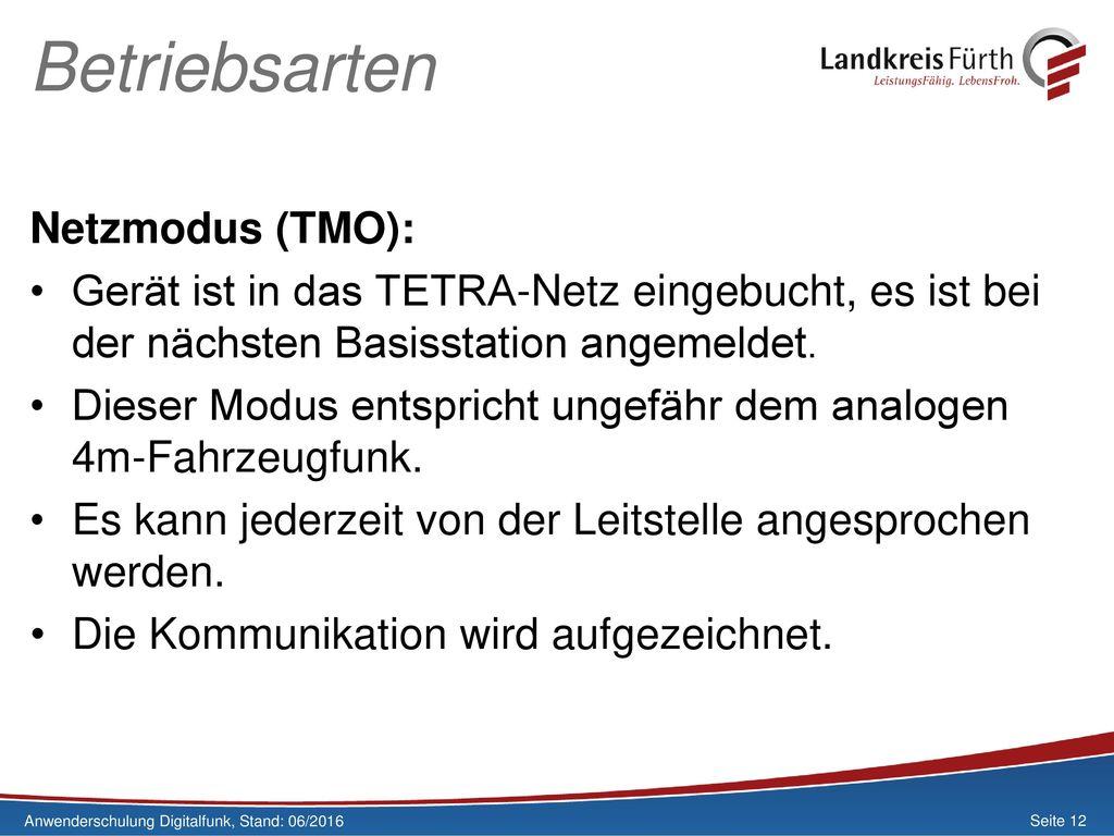 Betriebsarten Netzmodus (TMO):