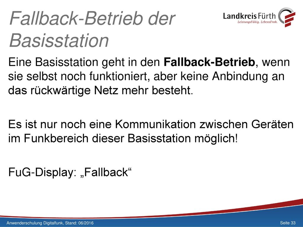 Fallback-Betrieb der Basisstation