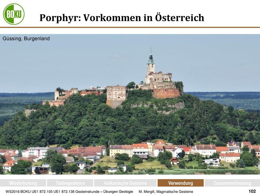 Porphyr: Vorkommen in Österreich