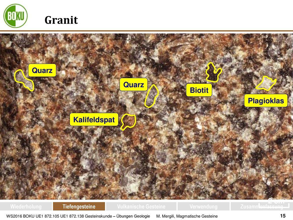 Granit Quarz Quarz Biotit Plagioklas Kalifeldspat ~2 cm Wiederholung