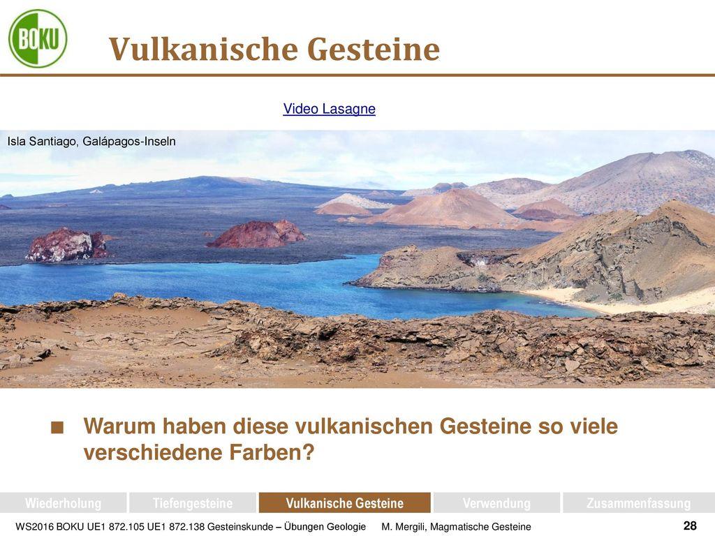 Vulkanische Gesteine Video Lasagne. Isla Santiago, Galápagos-Inseln. Warum haben diese vulkanischen Gesteine so viele verschiedene Farben