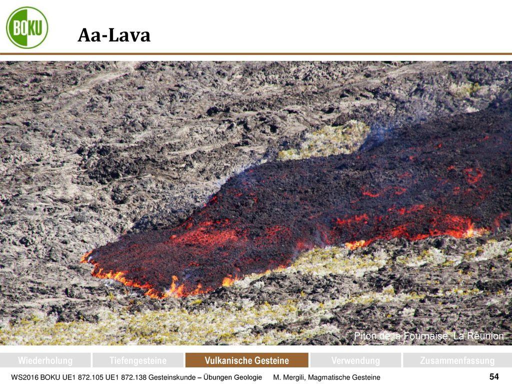 Aa-Lava Piton de la Fournaise, La Réunion Wiederholung Tiefengesteine