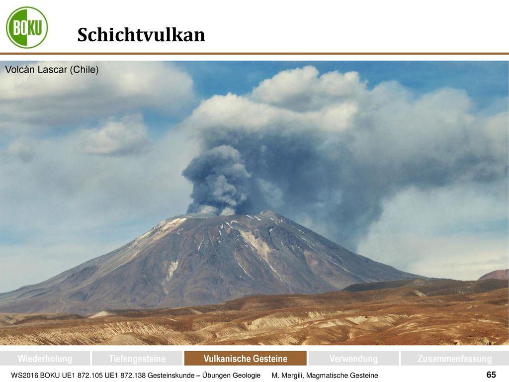 Schichtvulkan Volcán Lascar (Chile) Wiederholung Tiefengesteine