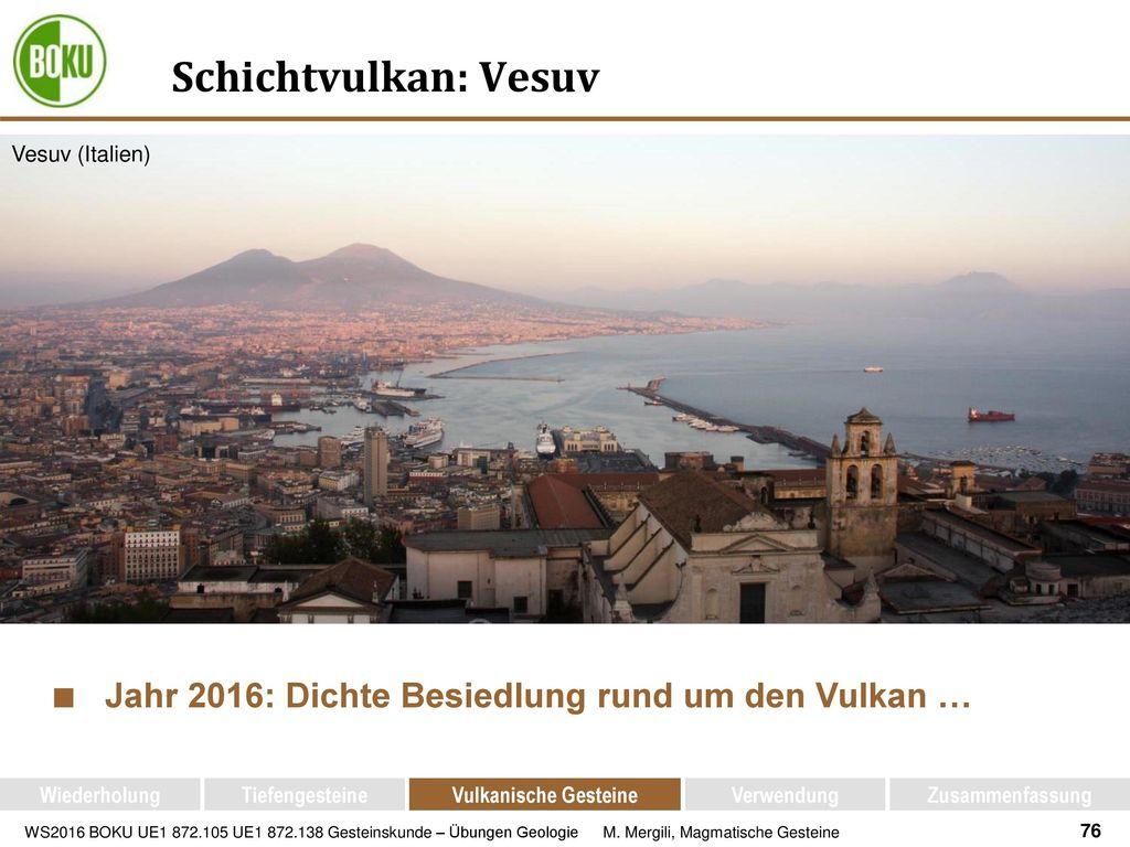 Schichtvulkan: Vesuv Jahr 2016: Dichte Besiedlung rund um den Vulkan …