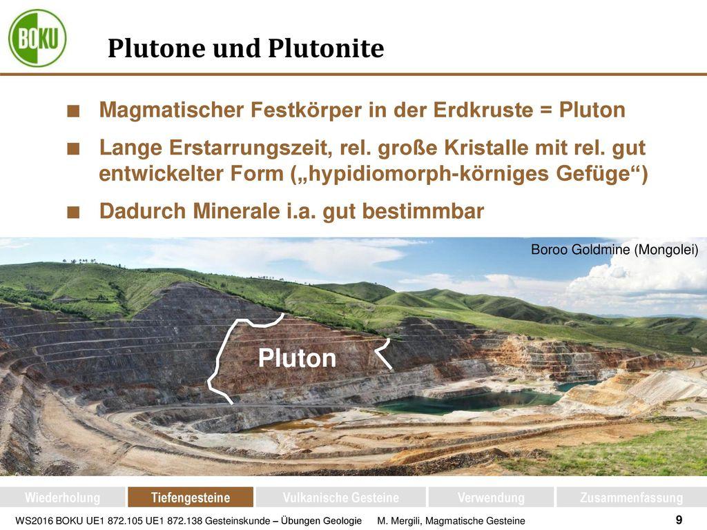 Plutone und Plutonite Pluton