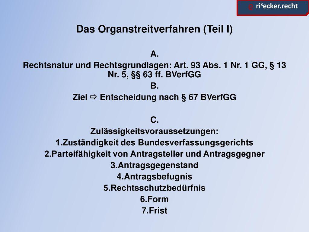 Das Organstreitverfahren (Teil I)