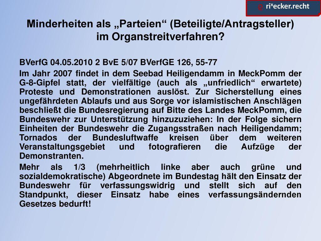 """Minderheiten als """"Parteien (Beteiligte/Antragsteller) im Organstreitverfahren"""