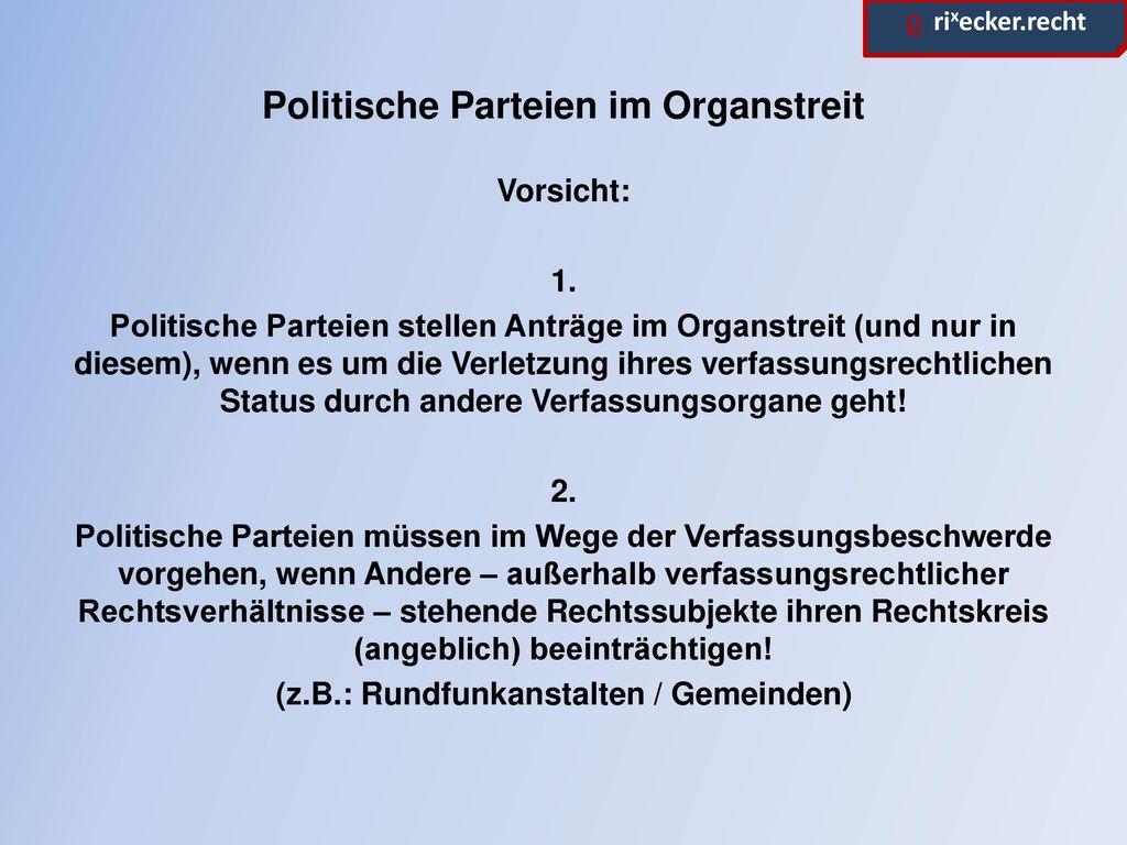 Politische Parteien im Organstreit
