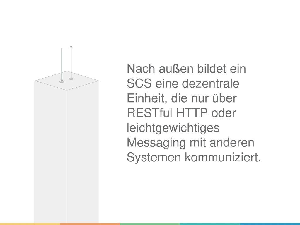 Nach außen bildet ein SCS eine dezentrale Einheit, die nur über RESTful HTTP oder leichtgewichtiges Messaging mit anderen Systemen kommuniziert.
