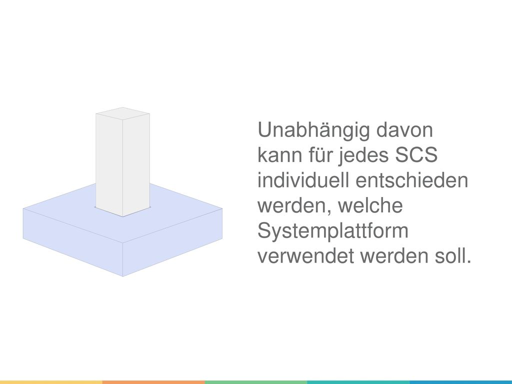 Unabhängig davon kann für jedes SCS individuell entschieden werden, welche Systemplattform verwendet werden soll.
