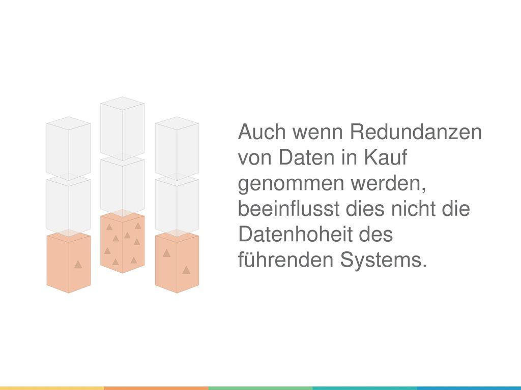 Auch wenn Redundanzen von Daten in Kauf genommen werden, beeinflusst dies nicht die Datenhoheit des führenden Systems.