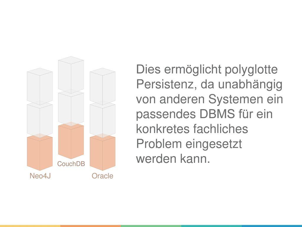 Dies ermöglicht polyglotte Persistenz, da unabhängig von anderen Systemen ein passendes DBMS für ein konkretes fachliches Problem eingesetzt werden kann.