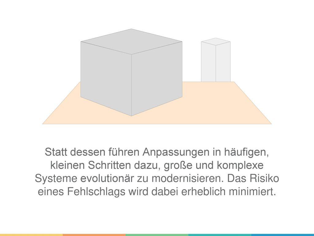 Statt dessen führen Anpassungen in häufigen, kleinen Schritten dazu, große und komplexe Systeme evolutionär zu modernisieren.