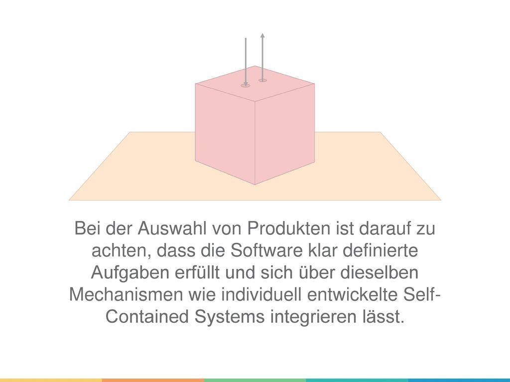 Bei der Auswahl von Produkten ist darauf zu achten, dass die Software klar definierte Aufgaben erfüllt und sich über dieselben Mechanismen wie individuell entwickelte Self- Contained Systems integrieren lässt.