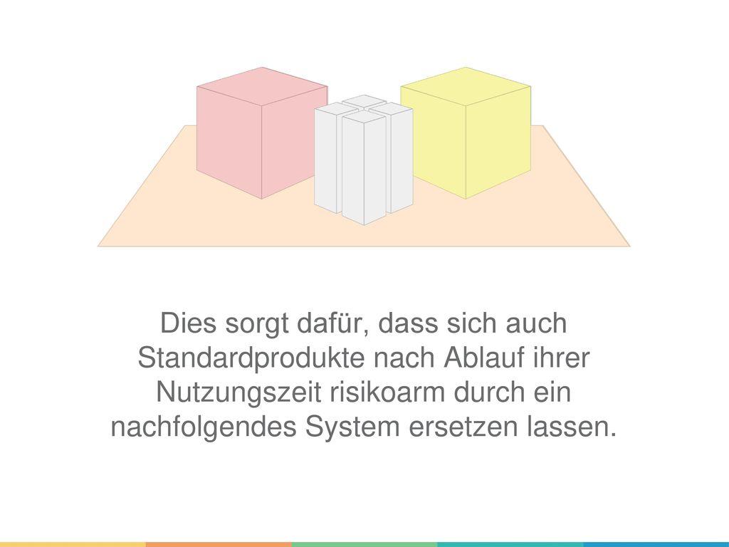 Dies sorgt dafür, dass sich auch Standardprodukte nach Ablauf ihrer Nutzungszeit risikoarm durch ein nachfolgendes System ersetzen lassen.