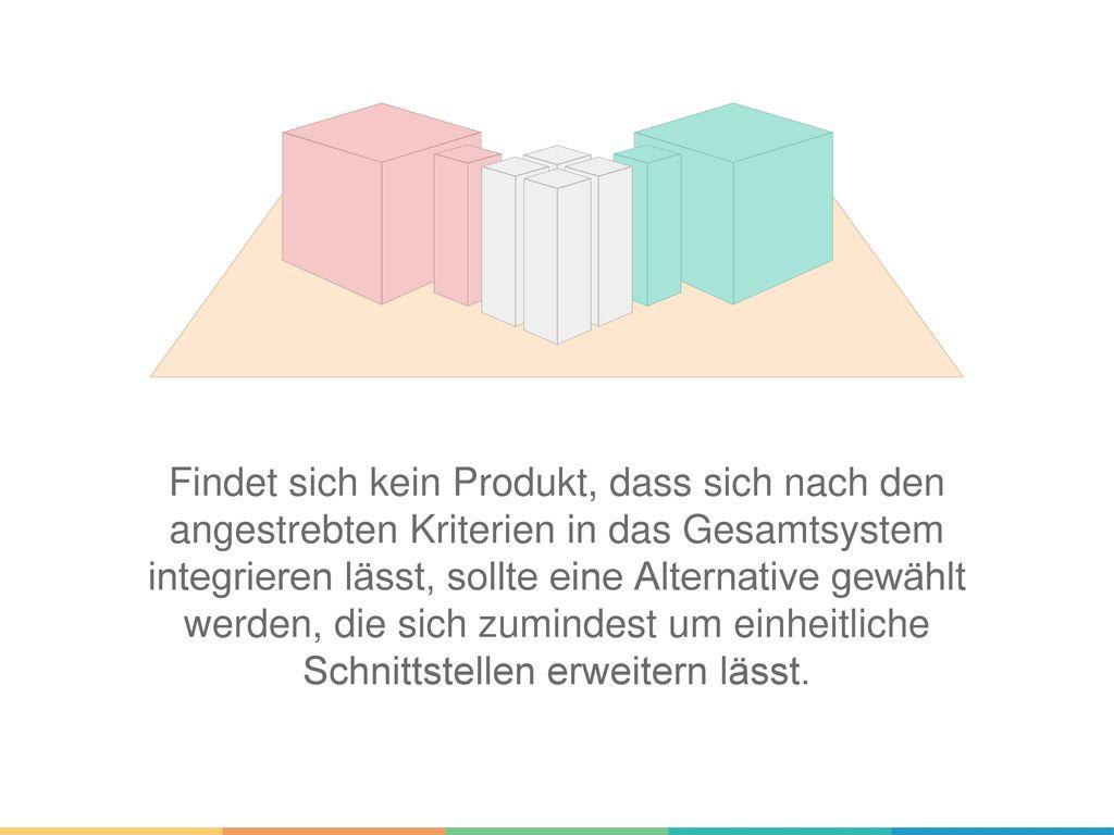 Findet sich kein Produkt, dass sich nach den angestrebten Kriterien in das Gesamtsystem integrieren lässt, sollte eine Alternative gewählt werden, die sich zumindest um einheitliche Schnittstellen erweitern lässt.