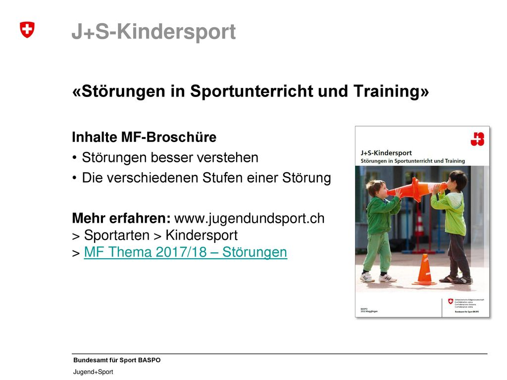 J+S-Kindersport «Störungen in Sportunterricht und Training»