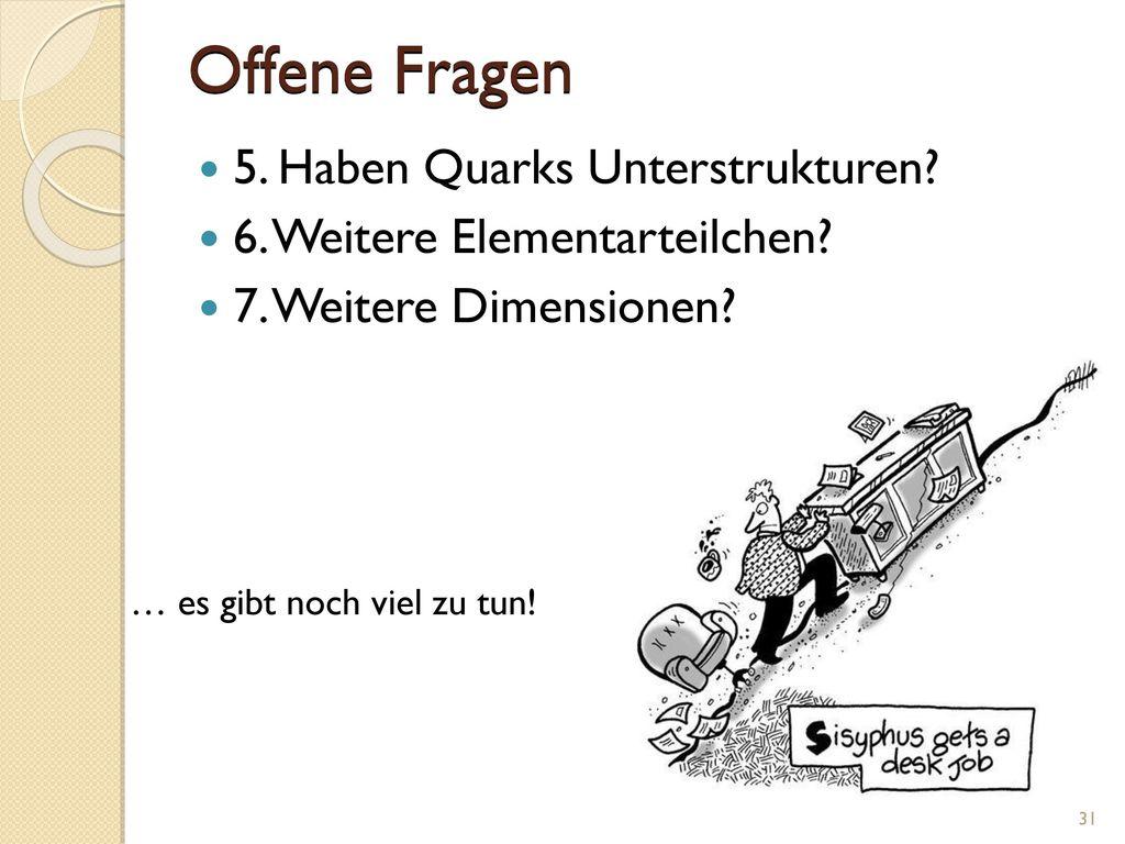 Offene Fragen 5. Haben Quarks Unterstrukturen