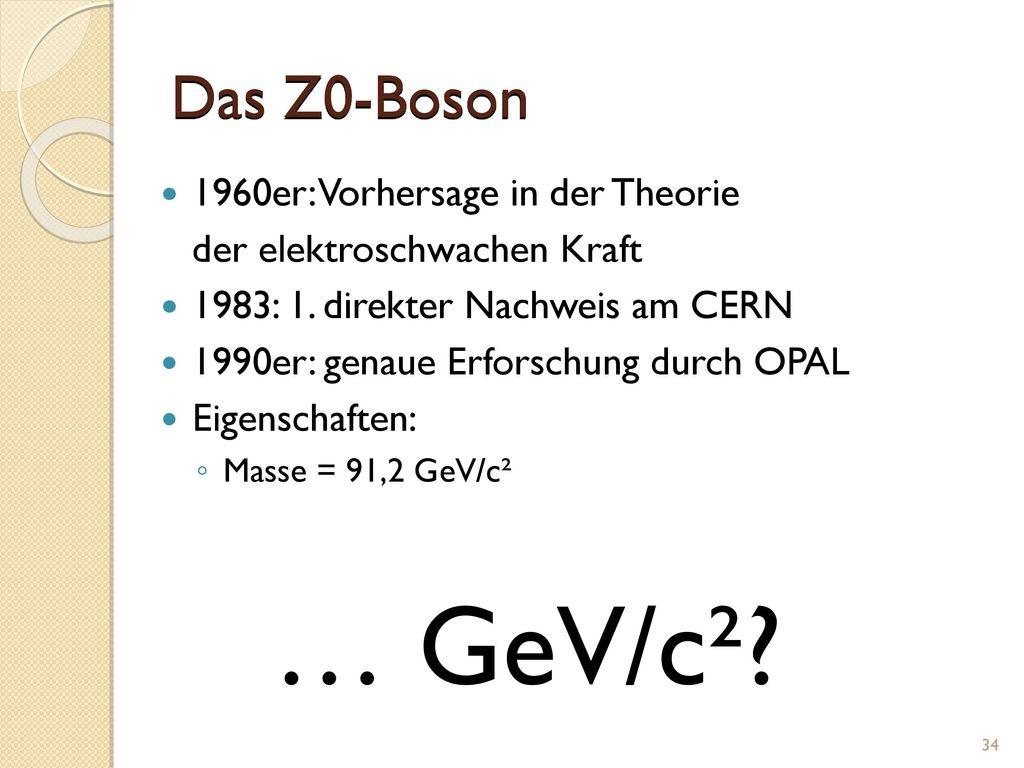 … GeV/c² Das Z0-Boson 1960er: Vorhersage in der Theorie