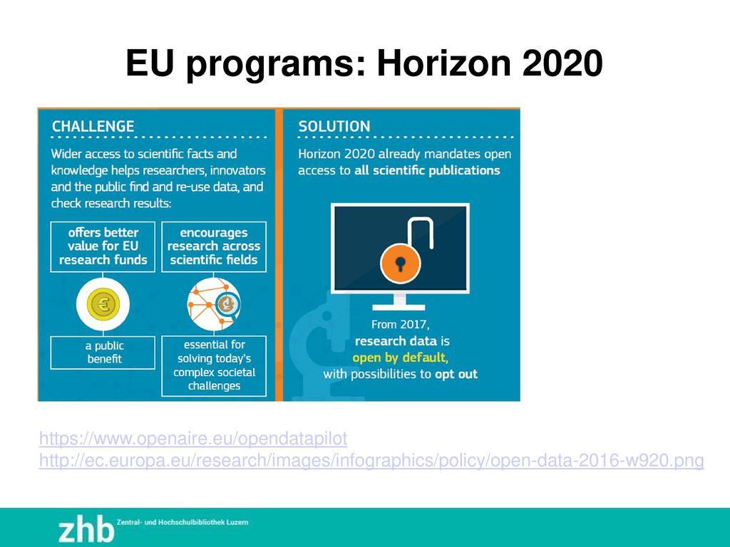 EU programs: Horizon 2020 https://www.openaire.eu/opendatapilot