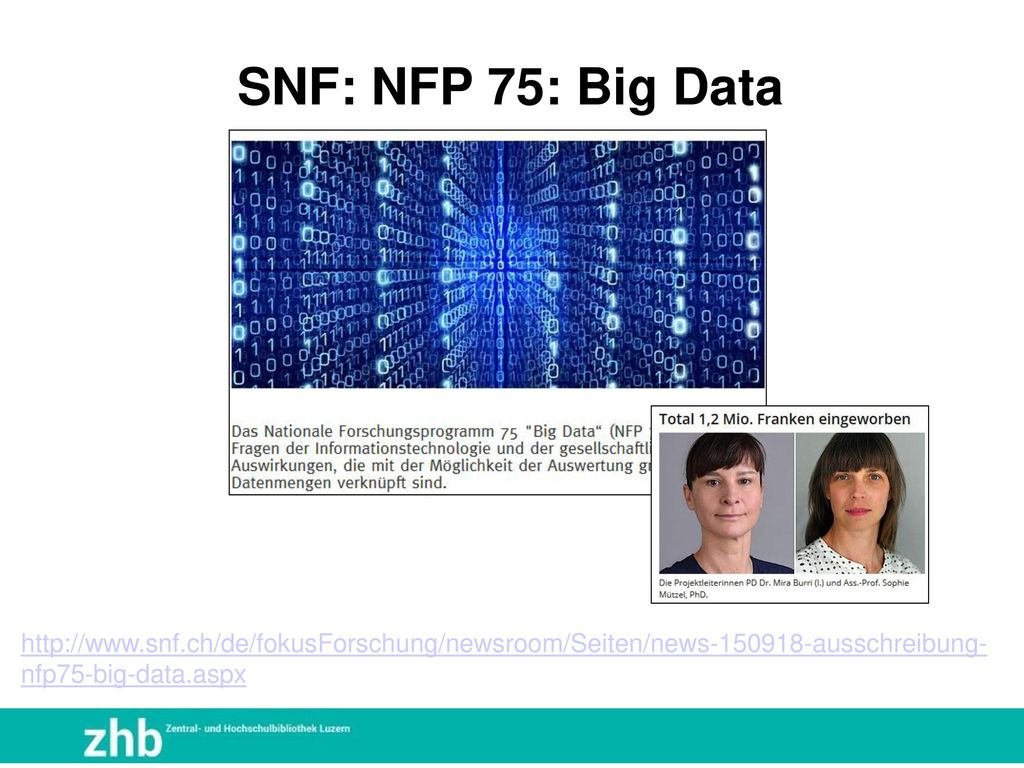 SNF: NFP 75: Big Data