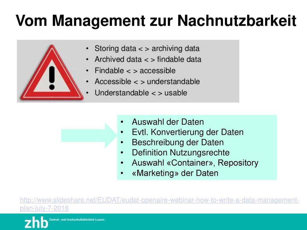 Vom Management zur Nachnutzbarkeit