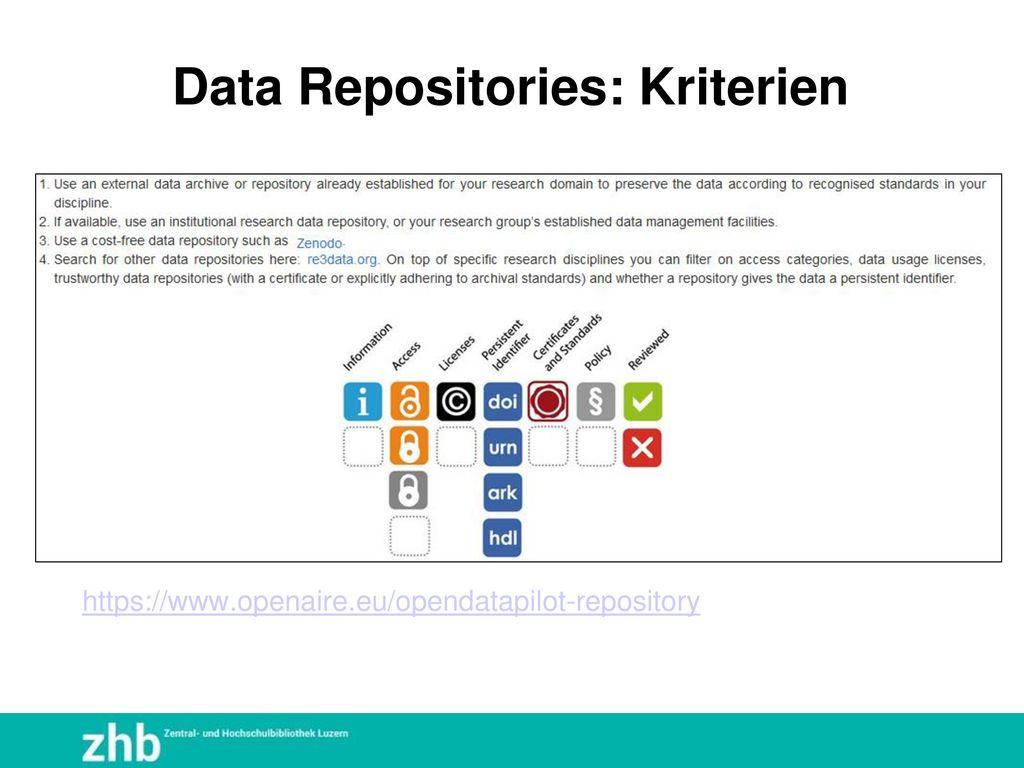 Data Repositories: Kriterien