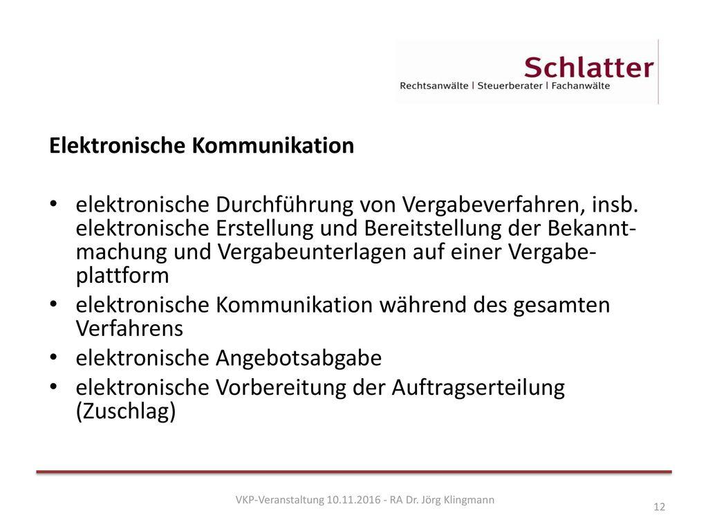 VKP-Veranstaltung 10.11.2016 - RA Dr. Jörg Klingmann
