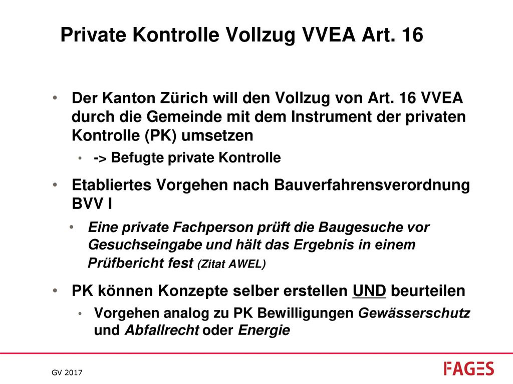 Private Kontrolle Vollzug VVEA Art. 16