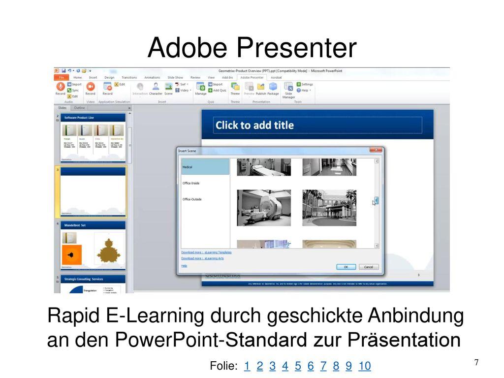 Adobe Presenter Rapid E-Learning durch geschickte Anbindung an den PowerPoint-Standard zur Präsentation.