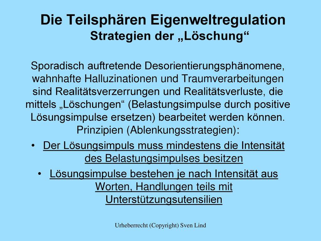 """Die Teilsphären Eigenweltregulation Strategien der """"Löschung"""