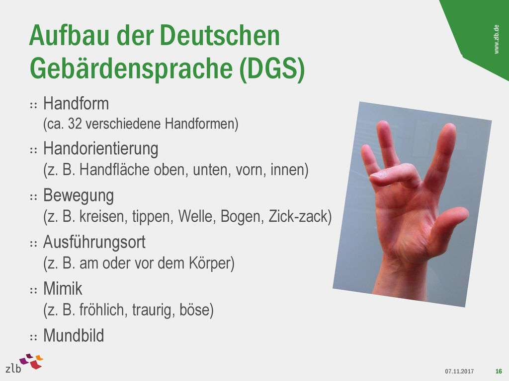 Aufbau der Deutschen Gebärdensprache (DGS)
