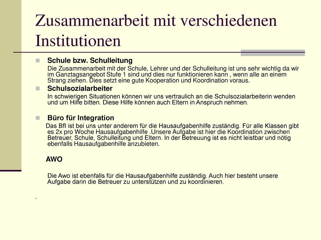 Zusammenarbeit mit verschiedenen Institutionen