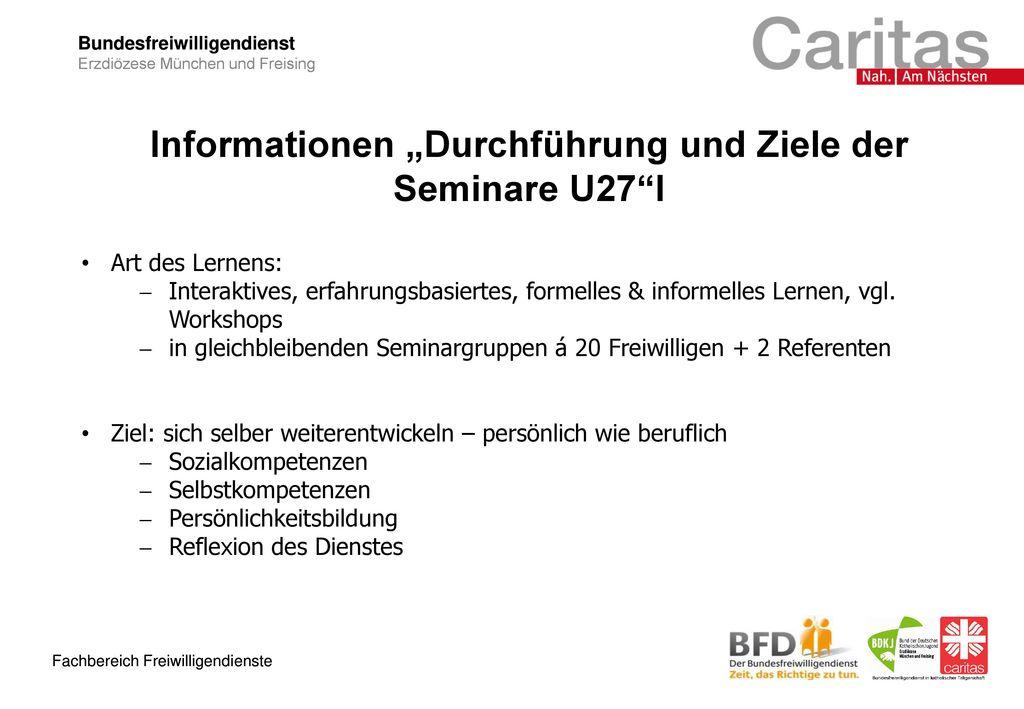 """Informationen """"Durchführung und Ziele der Seminare U27 I"""